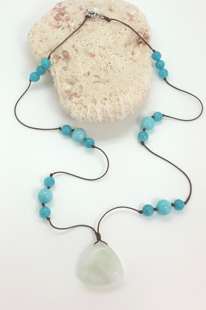 Amazonite, Jade,  faux leather