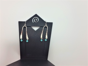 Hammered earring wire and Amazonite