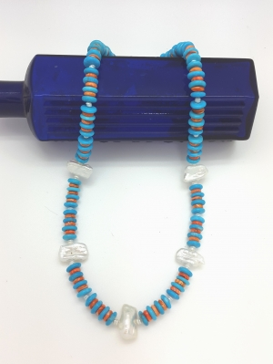 Stablized Turquoise, Spiny Oyster and Pearls Necklace