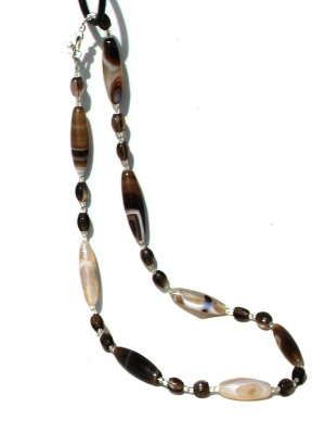 Bostwania Agate and Smoky Quartz Necklace