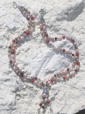 Cultured Cranberry, Pink and Grey Pearls Swarvoski Necklace