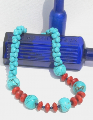 Dyed Turquoise, Red Sponge Coral and Lapis Necklace