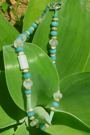 Feldspar, Quartz, Yellow Jade and Amazonite necklace
