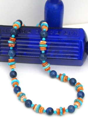 Lapis, Turquoise, Spiny Lobster Necklace