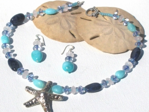 Sliver star fish Amazonite, Sodalite and Quartz